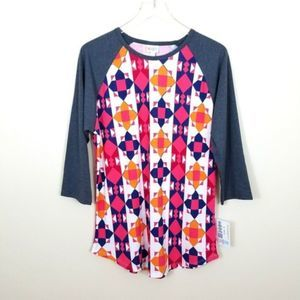LulaRoe Randy Tee Abstract Geo Print Top Size XL